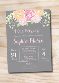 Floral Our Blessing Baptism Invitation by PaperHeartCompany
