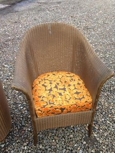 Lloyd Loom Chair Gold Wicker, Retro, Vintage With Designer Guild Fabric