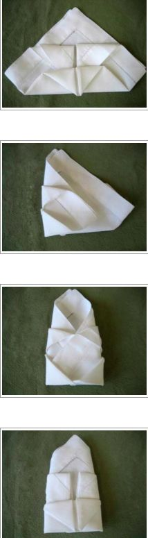 Step by Step tutorial on how to fold a Bishop Hat - linen napkin fold
