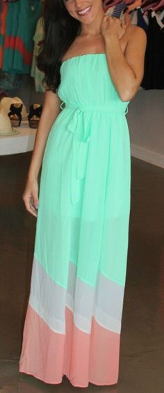Green Patchwork Color Block Sashes Bandeau Pleated Floor Length Dacron Dress