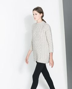 ZARA - WOMAN - SQUARE CUT CABLE KNIT SWEATER