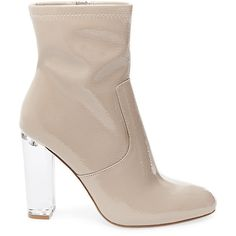 Steve Madden Women's Eminent Booties ($110) ❤ liked on Polyvore featuring shoes, boots, ankle booties, ankle boots, nude pat, steve madden booties, high heel booties, patent ankle boots, steve madden boots and clear-heel boots