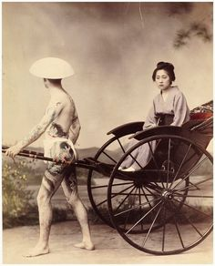 Inch Print - High quality print (other products available) - Woman in a rickshaw with tattooed attendant, Japan circa Date: circa 1890 - Image supplied by Mary Evans Prints Online - Photo Print made in the USA Yokohama, Fine Art Prints, Framed Prints, Canvas Prints, Park Photography, Museum, Black And White Pictures, Online Images, Hand Coloring