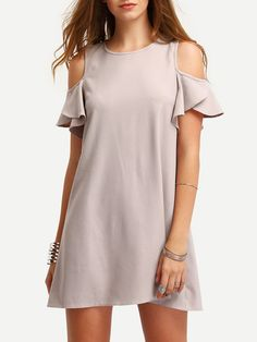 Casual Dresses - Milumia Women's Summer Cold Shoulder Ruffle Sleeves Shift Dress at Women's Clothing store: Plus Size Maxi Dresses, Casual Dresses, Short Sleeve Dresses, Formal Dresses, Summer Dresses, Casual Outfits, Wedding Dresses, Very Short Dress, Straight Dress