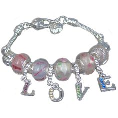 Pandora Bracciale Charms In Love Rosa Perline &9536