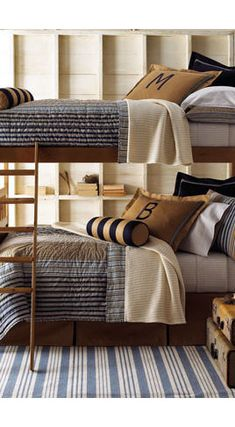 Boys room bunk beds...love the lettered pillows