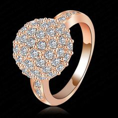 Ball Ring 18K Rose Gold Plated Rings Made With Genuine SWA Elements Austrian Crystal Ri-HQ1058-A