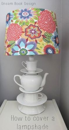 A great tutorial for how to cover a lampshade easily on dreambookdesign.com