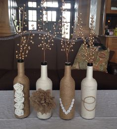 My wine bottle decoration turned out great for the wine-themed shower! I gave it to the bride as a gift then.