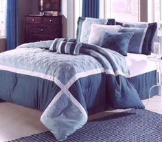 Amazon.com: Quincy Blue & Aqua 8 Piece Queen Comforter Bed In A Bag Set: Bedding & Bath
