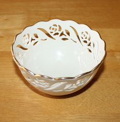 Lovely, Vintage Lenox Ivory Incised Serving Dish, Gold Rim Bowl
