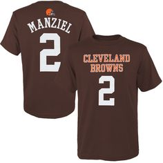 Johnny Manziel Cleveland Browns Historic Logo Youth Primary Gear Player Name & Number T-Shirt - Brown