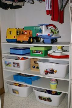 Toy library / swapping / storage – MUST put this into use in our house. Will le… Toy library / swapping / storage – MUST put this into use in our house. Will leave room for some montessori activities on the playroom shelves. Playroom Shelves, Toy Shelves, Montessori Activities, Infant Activities, Disaster Kits, Little Mac, Library Organization, Toy Rooms, Library Design