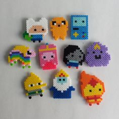 Product Details: These are handmade Adventure Time magnets that are perfect for decorating your fridge, locker, or any other magnetic Perler Bead Designs, Easy Perler Bead Patterns, Melty Bead Patterns, Perler Bead Templates, Hama Beads Design, Beading Patterns, Perler Bead Disney, Diy Perler Beads, Perler Bead Art