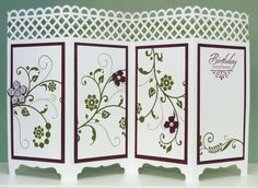 Stampin' Up! Screen Divider Card - Flowering Flourishes, Petite Petals, Merry Little Christmas & Wetlands Stamps - Decorative Label, Petite Petals & Itty Bitty Accents Punches - Martha Stewart Garden Trellis Punch - Cased from DO Stamping http://dostamping.typepad.com/dostamping_with_dawn/2014/09/stampinup-flowering-flourishes-fancy-fold-screen-divider-card-video.html