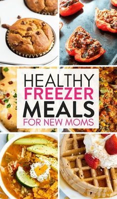 Healthy Freezer Meals for New Moms. Get ahead of the game and make up a few healthy freezer meals! These freezer meals for new moms (and busy parents) take a lot of the work out of the kitchen so you can concentrate on recovery and bondin Vegetarian Freezer Meals, Make Ahead Freezer Meals, Freezer Cooking, Freezer Recipes, Dump Meals, Batch Cooking, Crockpot Meals, Healthy Frozen Meals, Healthy Foods To Eat