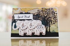 Sample card from the Chocolate collection by Tattered Lace featuring cutie animals! Witty One Liners, Stampin Up, Elephant, Greeting Cards, Presents, Delicate, Chocolate, Birthday, Lace