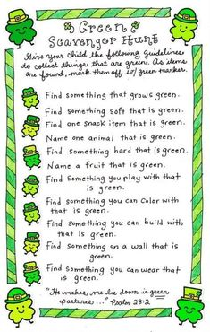 Green scavenger hunt - something fun to do with the kiddos for st. st patricks day images Green Scavenger Hunt - Happy Home Fairy Desserts Valentinstag, St Patricks Day Crafts For Kids, St Patrick's Day Crafts, Kids Crafts, March Crafts, Toddler Crafts, Treasure Hunt For Kids, Scavenger Hunt For Kids, Saint Patrick's Day