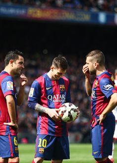 Lionel Messi, Xavi Hernandez & Jordi Alba http://celevs.com/the-10-best-pics-of-lionel-messi/