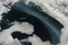 A plume stretched across the far northern Pacific in May 2012, likely the result of fires near Lake Baikal in eastern Russia.