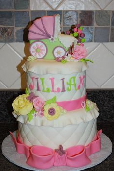 Baby Buggy Shower Cake - Loved torte di nadia's cake so much I duplicated it for my DIL's baby shower.  One of my most favorite cakes.