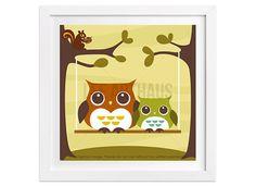91 Owl Print  Two Owls on Swing Wall Art  Owl Wall by leearthaus