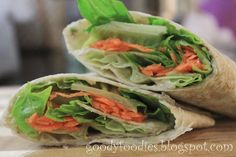 Vegetarian Wrap with Hummus. Quick, easy, and cold, for those still-warm evenings.