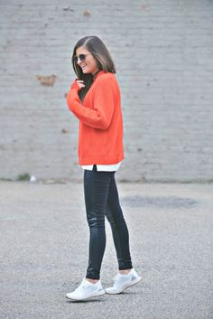 Chance Of Perforation   Dansko white sneakers - leather pants, red sweater, spring style, transitional spring outfit idea, nyc fashion blogger Tilden of To Be Bright