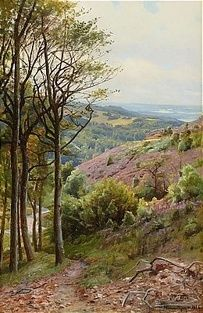 Artwork by Peder Mork Monsted, Landskapsvy från Himmelbjerget, Danmark, Made of Oil on canvas