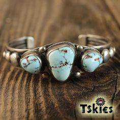 Navajo bracelet rare Burnham turquoise Verdy Jake .925 sterling silver signed | eBay