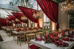 Rich burgundy red wedding reception would be perfect for a fall wedding celebration