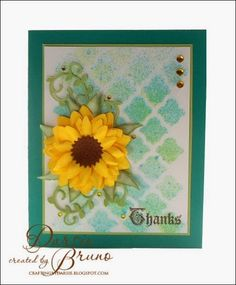 Darise Bruno: Crafting with Darsie: Sunflower Thanks. - (Spellbinders: Create-a-Flower Sunflower; Tsukineko: Fireworks Spray: New Sprout, Summer Sky,. TUTORIAL ON BACKGROUND. Paper Art, Paper Crafts, Sunflower Cards, Card Making Designs, Spellbinders Cards, Thanks Card, Thanksgiving Cards, Heartfelt Creations, Fall Cards