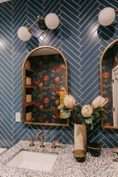 Jaclyn Johnson: Blue Glass Tile | Fireclay Tile | Fireclay Tile Herringbone Tile Pattern, Blue Glass Tile, Fireclay Tile, Bold Wallpaper, Guest Bath, Photo Location, Blue Design, Tile Patterns, This Is Us