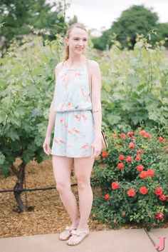 A pair of blush sandals is the perfect shoe for a flamingo pink romper.
