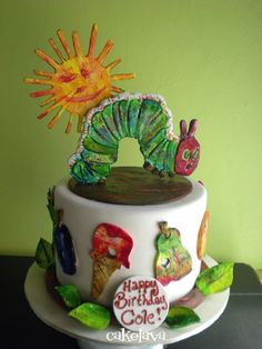 Love Love LOVE this cake inspired by The Very Hungry Caterpillar!