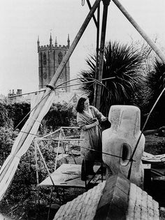 patrickhumphreys:  Barbara Hepworth carving Contrapuntal Forms in Trewyn Studio, St Ives, Cornwall, 1950.