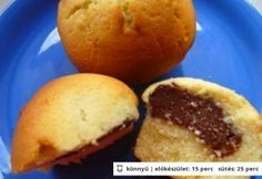 Pudinggal töltött muffin 4. - csokipudingos Cornbread, Muffins, Food And Drink, Sweets, Cookies, Baking, Breakfast, Ethnic Recipes, Per Diem