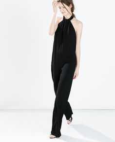 Crepe jumpsuit with back bow