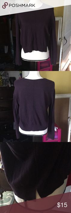 Purple Cropped Sweater Lightly worn. Perfect fall staple! Soft material. Small slit down both sides of Sweater. Banana Republic Sweaters
