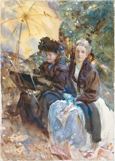 John Singer Sargent . Miss Eliza Wedgewood and Miss Sargent Sketching, 1908 . Watercolour and gouache on paper, 693 mm x 546 mm at the Tate, London