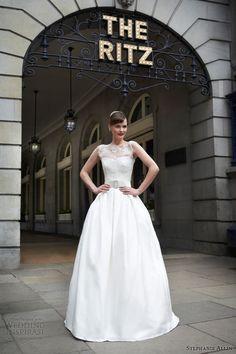 stephanie allin 2014 kellie sleeveless illusion neckline wedding dress