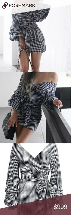 COMING SOON!! Off-the-shoulder mini dress / Classic gingham print / Exaggeratedballoon sleeves/ Wrap around, adjustable waist/ Fitted look/ 100% polyester / True Fit, Order Your Normal Size. ****LIKE or Comment Post To Be Notified Upon Arrival and Purchase at PRE SALE  $$30! MK Boutique Dresses