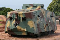 The Mephisto is being restored by the Queensland Museum after the 2011 Floods inundated their South Bank site. Eerie to see where bombs breached the skin. German WW1 tank. A7V?