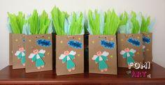 Bolsas decoradas con fomi... Evento baby shower