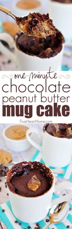 One-Minute Chocolate Peanut Butter Mug Cake ~ moist chocolate cake with a molten peanut butter center bakes up in a microwaved mug in just one minute! | FiveHeartHome.com