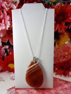 Natural Genuine Stone Pendant - CRIMSON BROWN Onyx Agate DROP Pendant - 18KGP Crystal Pendant Sterling Silver Snake Chain Necklace by ChrysalisCrystalGems on Etsy