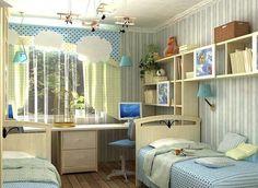 На фото детская комната для двух мальчиков