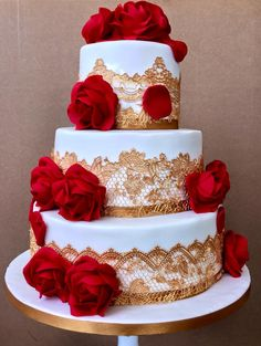 Three tier white with Red Rose Wedding Cake Wedding Cake Red, Indian Wedding Cakes, Red Rose Wedding, Beautiful Wedding Cakes, Wedding Cake Designs, Beautiful Cakes, Quinceanera Planning, Quinceanera Cakes, Quinceanera Decorations