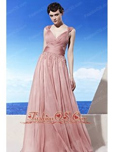 Light Pink Empire V-neck Floor-length Chiffon Beading Prom Dress  http://www.fashionos.com  http://www.facebook.com/quinceaneradress.fashionos.us  The graceful bodice is accented with two straps and crossed ruchings throughout.The exquisite beadwork in the waistband section is so chic to attract the attention.The floor-length skirt flows freely to conture your slim figure and a zipper up back completes this wonderful design.