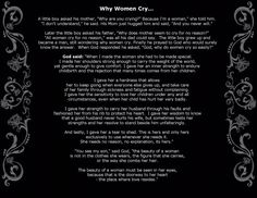 Why woman cry...